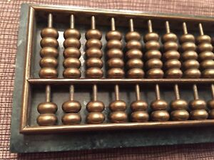 Rare Small Antique Chinese Bronze Bead Abacus Checkers Game