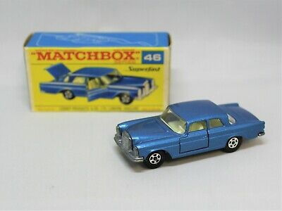"Matchbox Lesney Superfast No46 MERCEDES 300SE "" RARE TRANSIONAL BLUE "" in F BOX"