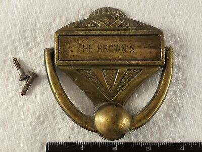 Vintage Brass Door Knocker  Chad Mfg Personalized The Brown's Deco Styling Retro Brass Personalized Door Knocker