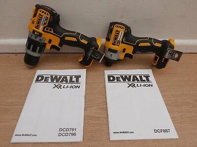DEWALT 18V XR DCD796 COMBI HAMMER DRILL + DCF887 IMPACT DRIVER BARE UNITS