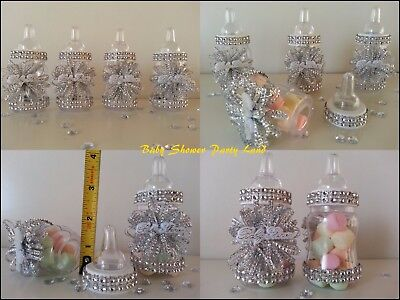Silver Baby Shower Decorations (Baby Shower Favors 12 Silver Fillable Bottles Prizes Games Girl)