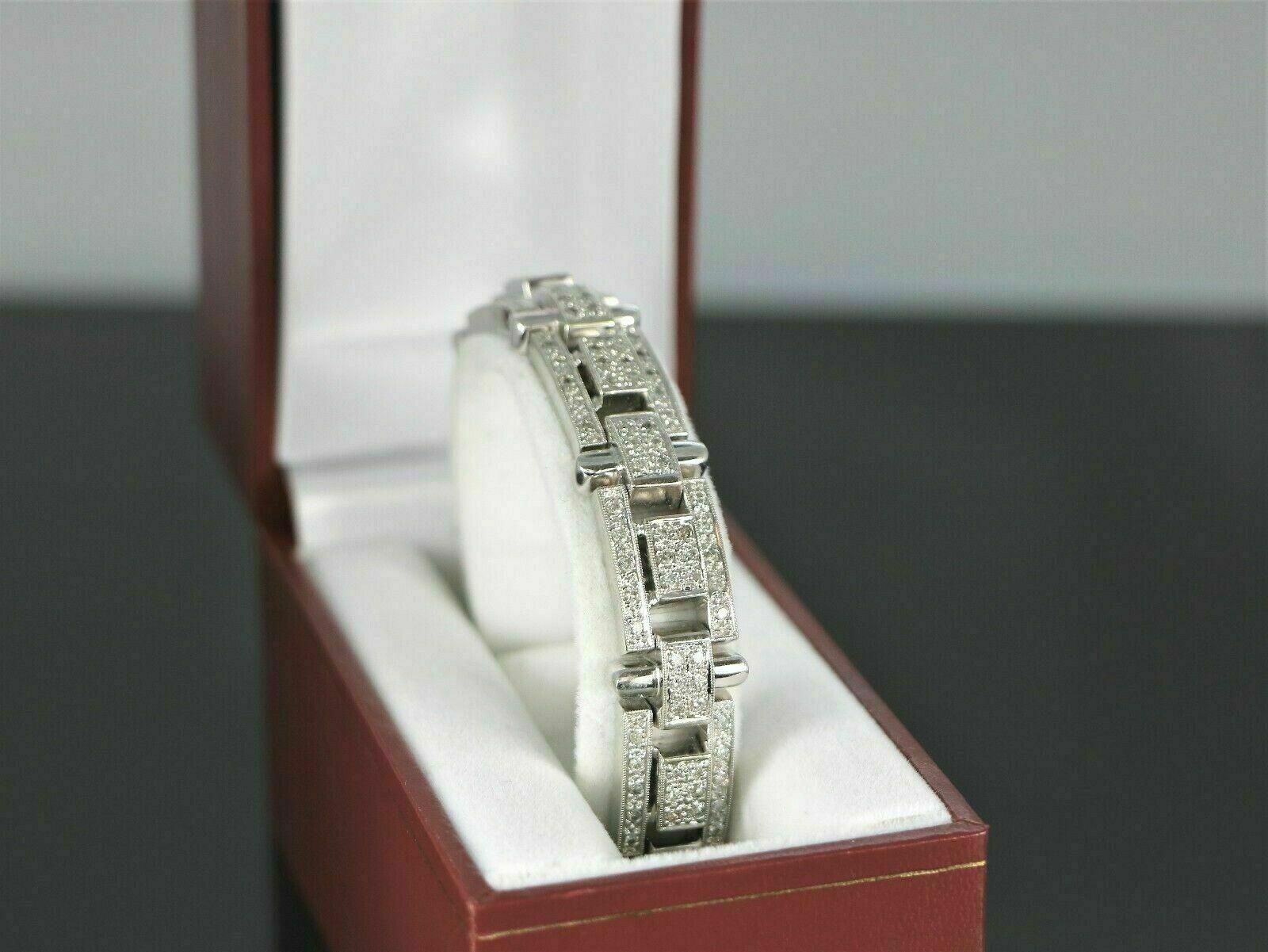 13.25Ct Round Cut Diamond 14K White Gold Over Men's Exclusive Tennis Bracelet 2