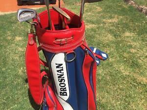Brosnan golf clubs and bag