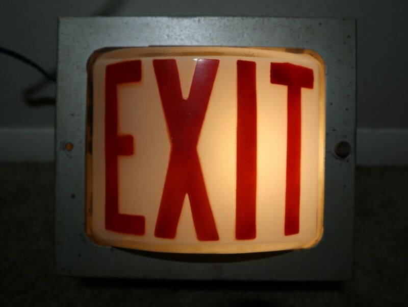 Vintage Bowling Alley Glass Exit Sign