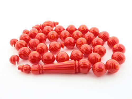 Big Red Galalith 33 bead Islamic Prayer Beads Misbaha Tesbih Galanite 407012