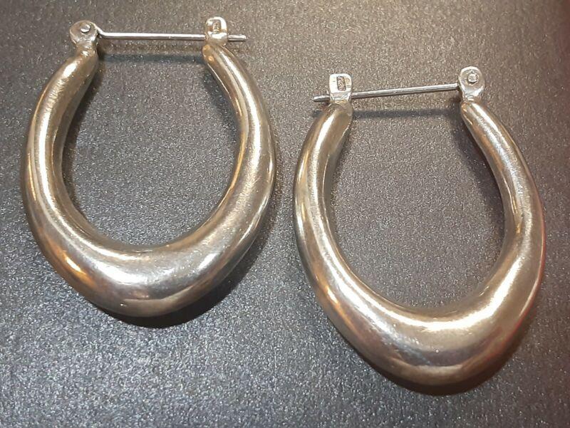 Vintage 925 Sterling Silver Hollow Puffy Elongated Oval Hoop Earrings 5.8g
