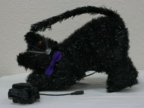 RARE! VINTAGE J C PENNEYS HALOWEEN FIBER OPTIC BLACK CAT WITH ADAPTER NEW IN BOX