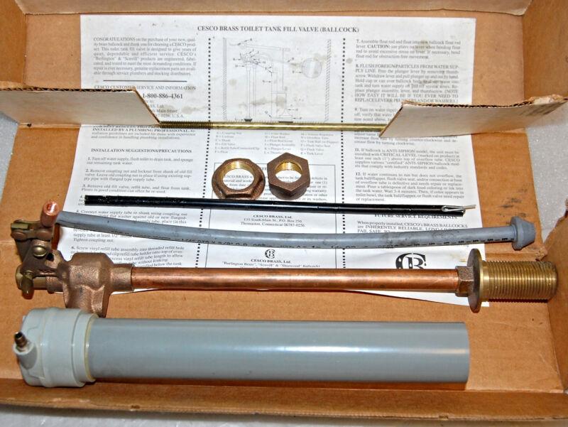 CESCO TOILET TANK BRASS FILL VALVE W/ SCOVILL VACUUM BREAKER 88-8834