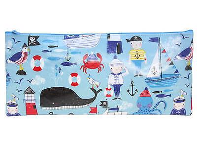 Gisela Graham Pirate Blue Zipped Pencil Case wipe clean school nursery Nautical