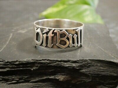 Riesiger 925 Silber Ring Markenschmuck Pit Bull Daumenring Schwer Breit Modern  (Pitbull Schmuck)