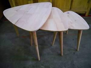 New Scandi Danish Hardwood Timber Nesting Tables 3 Piece Set Melbourne CBD Melbourne City Preview