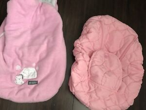 Pink car seat cover and carrier cover