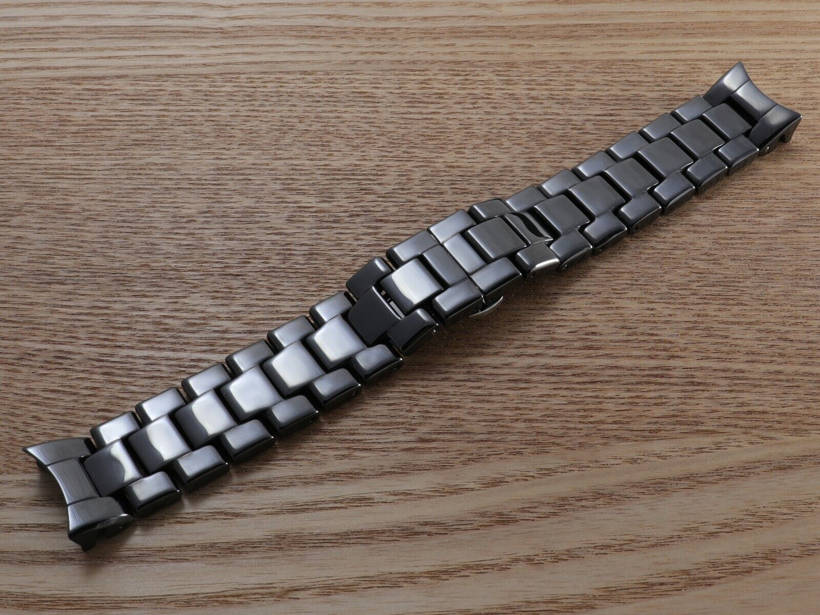 22 mm jenuine rubber EMPORIO ARMANI black watch band strap+ deployment clasp