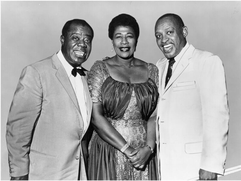 LOUIS ARMSTRONG ELLA FITZGERALD LIONEL HAMPTON 8X10 GLOSSY PHOTO PICTURE