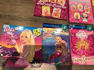 6 Barbie books and 1 my little pony book