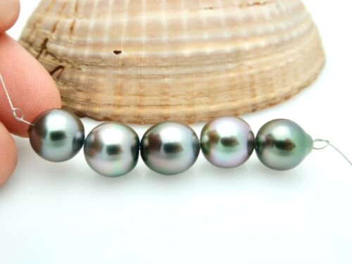 METALLIC SILVER RAINBOW AA+ TAHITIAN CULTURED 9.4-10mm PEARLS 6.70grams
