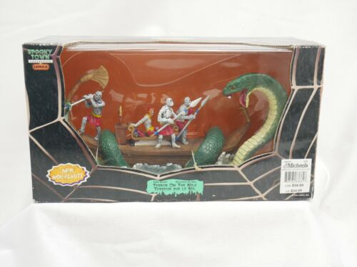 New Lemax Spooky Town- Terror on the Nile --Serpent Attacking Boat- Halloween