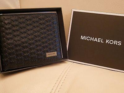 NEW WT GIFT BOX Michael Kors Jet Set Men's Billfold Wallet BLACK LEATHER