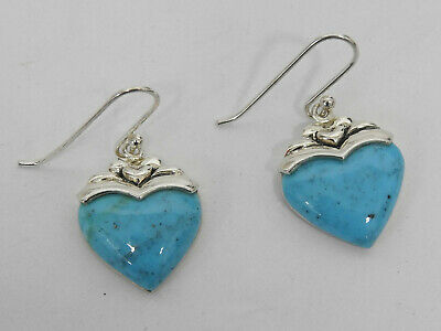 """Sally C Treasures Turquoise Heart Earrings 1½"""" Sterling Silver SX925 HSN Jewelry"""
