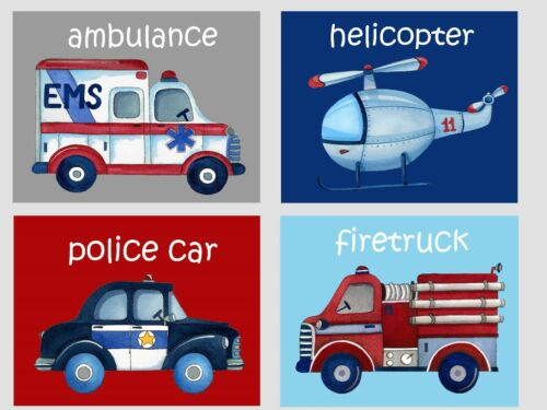 Emergency Rescue Wall Art Prints for Baby Nursery or Boys Bedroom Decor