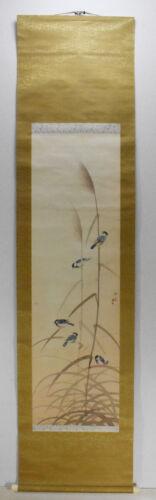 "Japanese hanging scroll, ""Sparrows"" by Gyokuho Yamashita #3693"