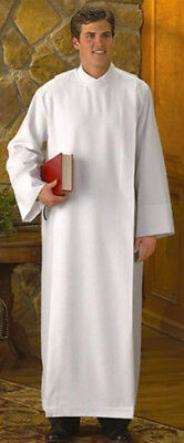 R.J. Toomey White Polyester Front Wrap Clergy Alb (Large)