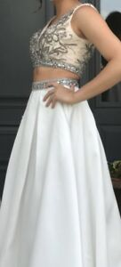 size 2, two piece long prom dress.
