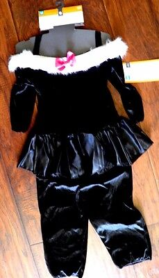NWT Deluxe Cat Girls M 6-8 Costume Kitten Black White Tail Jumpsuit Kitten FAST - Target Cat Costume