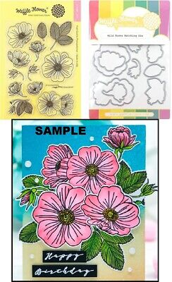 Metal Combo Dice - Waffle Flower WILD ROSE COMBO Clear Stamp & Matching Metal Die Set