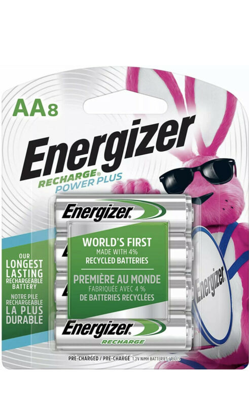 ENERGIZER AA RECHARGEABLE BATTERIES NiMH (8 Count) DOUBLE A BATTERY RECHARGE