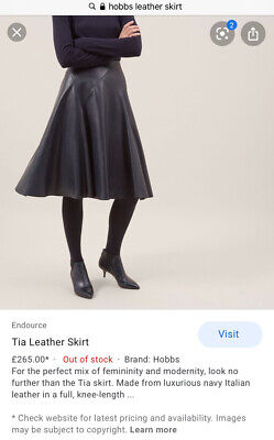 "Hobbs ""tia"" Leather Skirt Uk10 A Line Rrp £265 Black"
