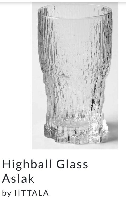 """IITTALA ASLAK 4 HIGHBALL TUMBLERS ICE ICICLE BASE 5.5"""" Rare VGC"""