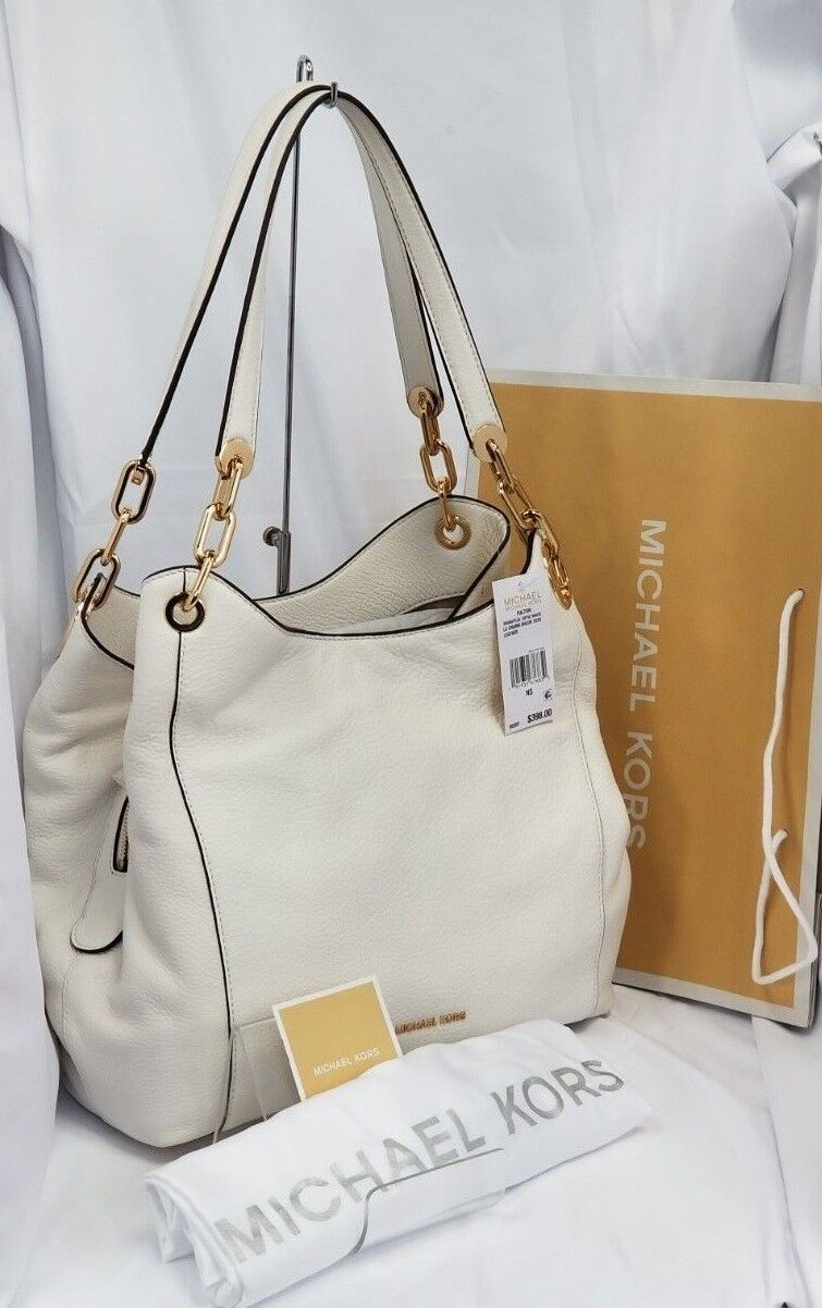 Details about Michael Kors Michael Kors Fulton Lg Charm Shoulder Tote Leather Optic White NWT