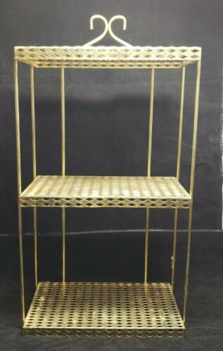 VINTAGE MID CENTURY MODERN GOLD METAL MESH 3 TIER WALL / STANDING SHELF