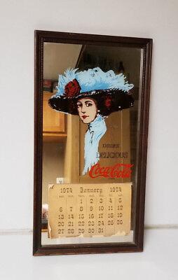 Vintage Coca Cola Mirror calendar 1974