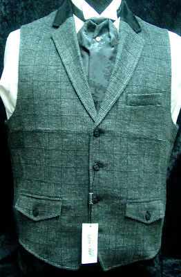 Mens Vest Old West Victorian Edwardian SASS wedding gray wool blend S-XXL  new