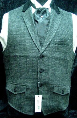 Mens Vest Old West Victorian Edwardian SASS wedding gray wool blend S-XXL  new