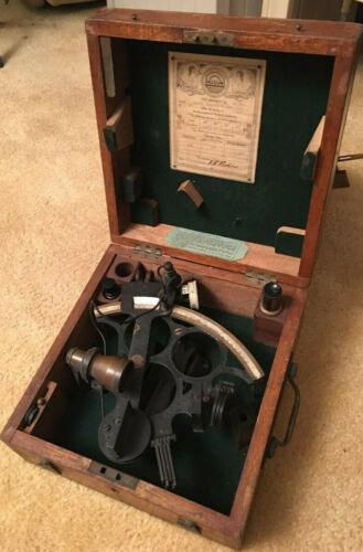 1944  SEXTANT HENRY HUGHES&SON #41033 ENGLAND WITH BOX