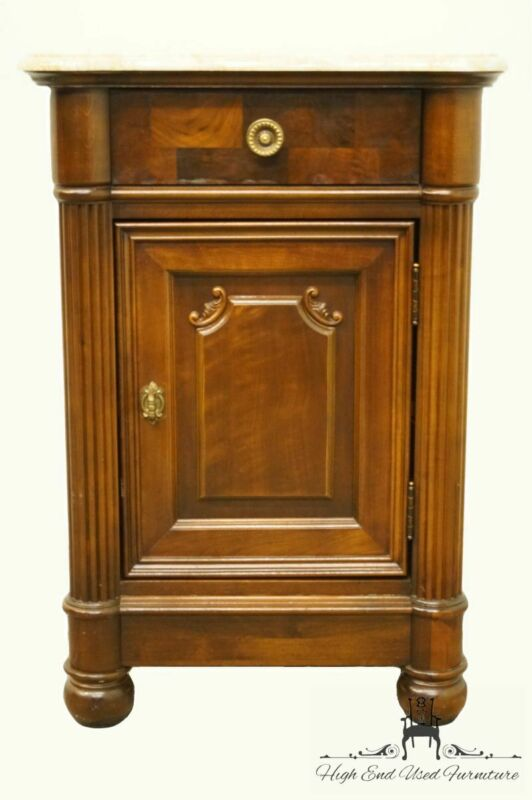 """STANLEY FURNITURE Italian Neoclassical 22"""" Cabinet Nightstand w. Marble Top 3..."""