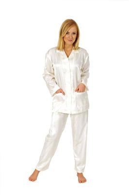 Damen Satin Pyjama Schlafanzug Klassik Durchgeknöpft Streifen 55792 - Satin Anzug