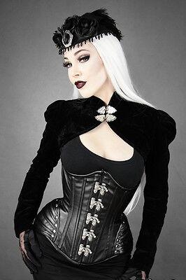 Restyle Kunst-Leder Korsett Black Widow Corset Steelboned Gothic Steampunk