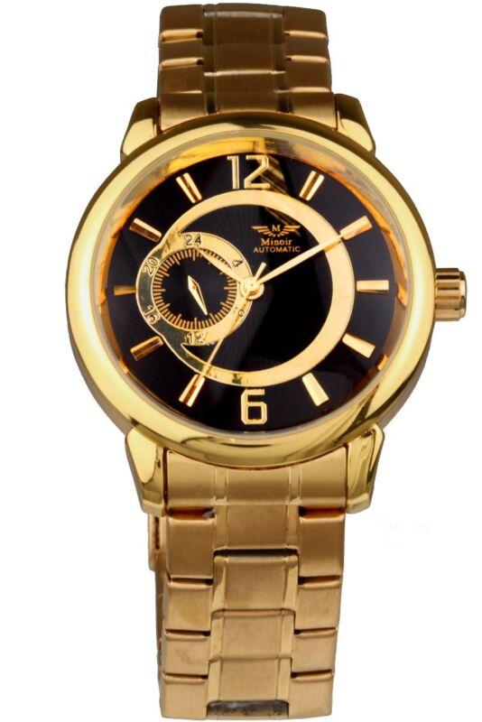 Minoir Uhren - Modell Sens - gold/schwarz Automatikuhr, Herrenuhr