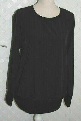 FABLETICS Black Silky Lola Long Sleeve Back Slit Pullover Workout Top M