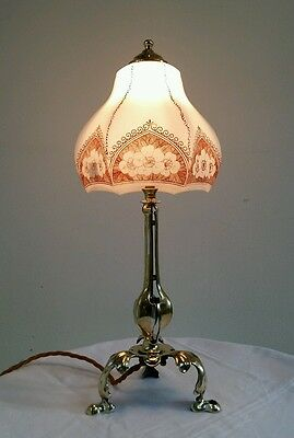 Antique C1900 Edwardian Unusual Pullman Brass and Steel Lamp Fully Rewired