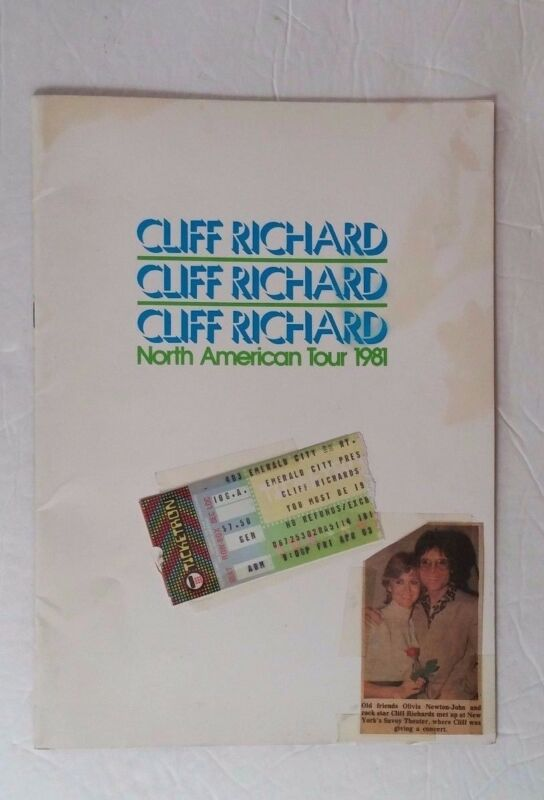 Vintage 80s Cliff Richard North American 1981 Tour Program and Ticket Stub