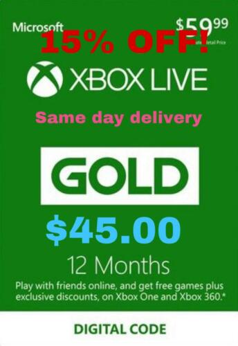 Xbox Live 12 Month Gold Email Delivery - Works Worldwide (Read Description)