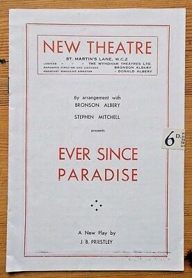 Ever Since Paradise programme New Theatre 1947 Dennis Arundell Jane Carr 16.6.47