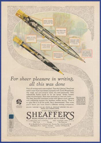 Vintage 1929 SHEAFFER'S Ink Pen Pencil Skrip Fort Madison IA 20's Print Ad