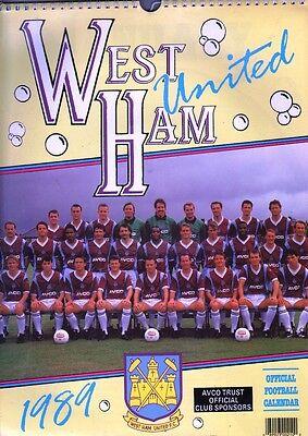 WEST HAM UNITED FOOTBALL CLUB OFFICIAL 1989 CALENDAR same dates as 2017
