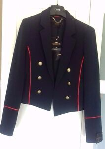 Next Navy Blue Military Contrast Piped Blazer Jacket Size 8 - Edge to Edge Fit